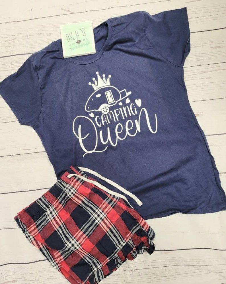 Camping Queen caravan pjs, camping pjs, gift for camper, gift for caravanner, gift for her, matching his and her pjs, Queen pjs, adult pjs