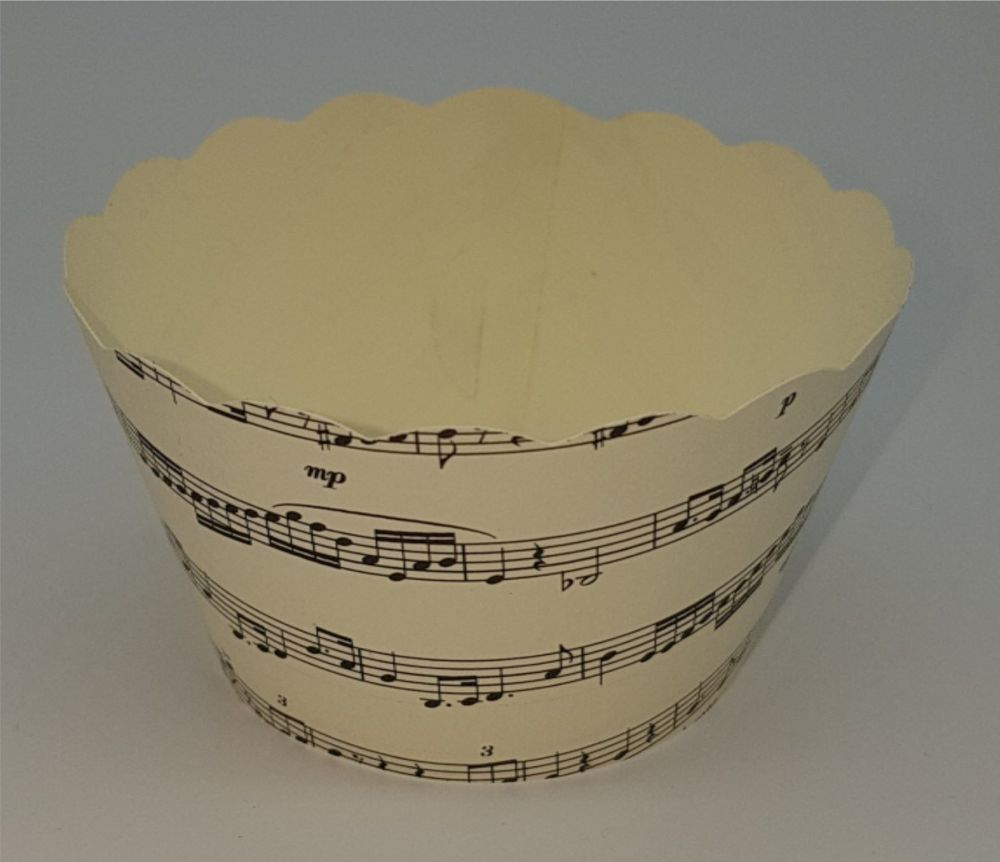 Cupcake Wrappers - Cream and Black Music Design - Pack of 12
