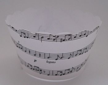 Cupcake Wrappers - White and Black Music Design - Pack of 12
