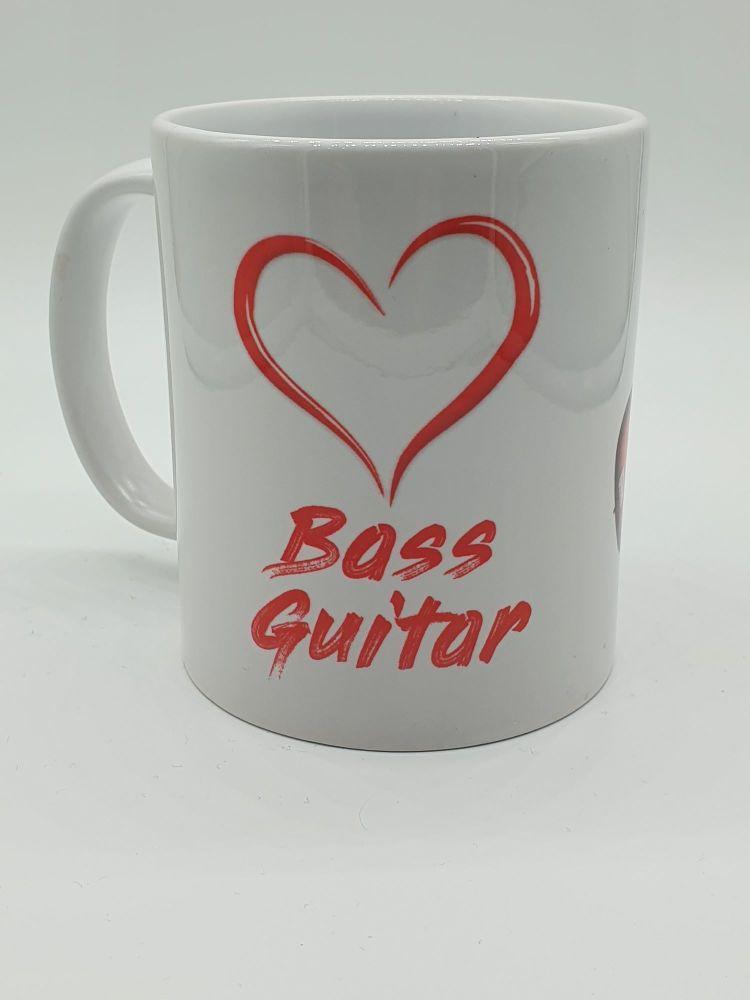 I Love Bass Guitar - Printed Mug