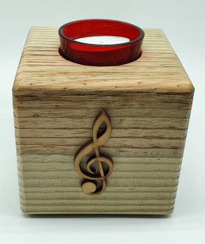 Handmade Candle Holder - Natural Treble Clef (2)