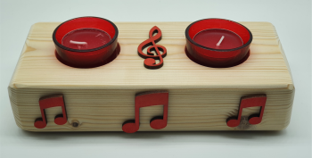 Handmade Candle Holder - Red Double Tea Light Holder Treble Clef & Notes (4)