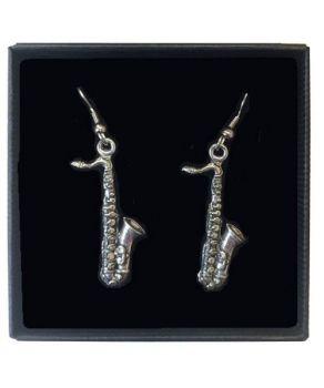 Saxophone Ear Rings in Pewter