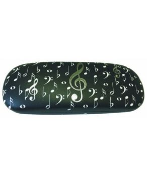 Glasses Case - Black with Silver Clefs and White Notes