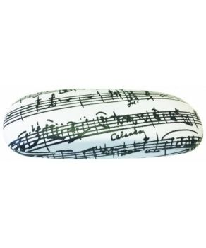 Glasses Case - White with Black Manuscript Design