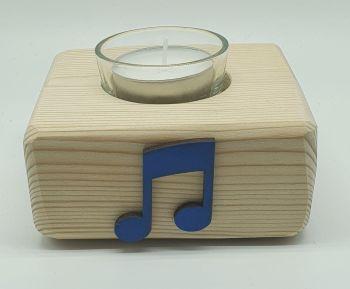 Handmade Candle Holder - Blue Quaver Notes (6)