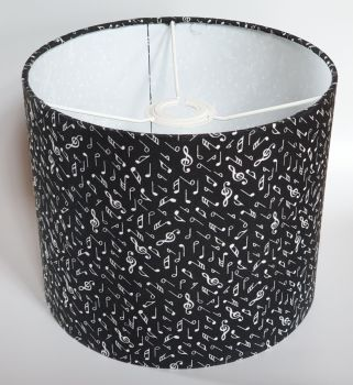 Music Design Handmade Lampshade - Black with White Notes