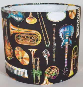 Music Design Handmade Lampshade - Musical Instruments (Black & Gold)