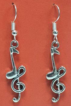 Quaver Note & Treble Clef Tibetan Silver Ear Rings