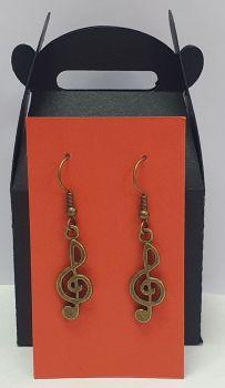 Antique Bronze Tone Treble Clef Ear Rings