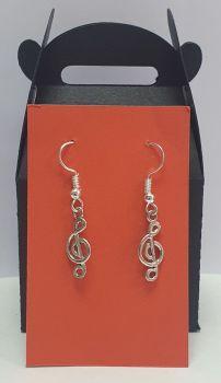 Treble Clef Tibetan Silver Ear Rings