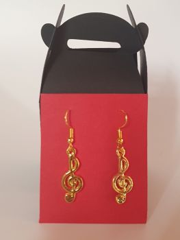 Gold Plated Treble Clef Ear Rings (1)