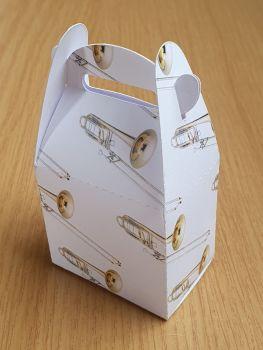 Handled Favour Box - Trombone ~ White