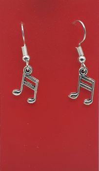 Semiquaver Tibetan Silver Ear Rings (01)