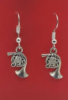 French Horn Tibetan Silver Ear Rings (01)