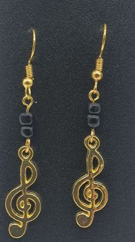Gold Plated Treble Clef with Black Beads