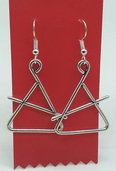 Triangle and Beater Tibetan Silver Ear Rings (01)