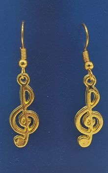 Gold Plated Treble Clef Ear Rings (2)