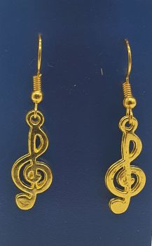 Gold Plated Treble Clef Ear Rings (3)