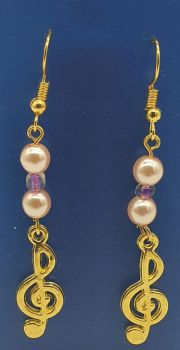 Gold Plated Treble Clef with Pink Beads