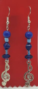 Silver Plated Treble Clef Ear Rings with Blue Beads