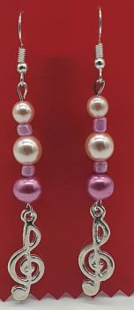 Silver Plated Treble Clef Ear Rings with Pink Beads (2)