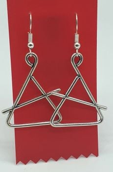 Triangle and Beater Tibetan Silver Ear Rings (02)