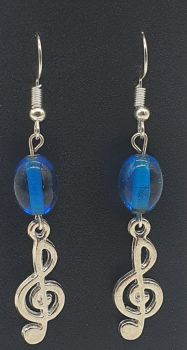 Silver Plated Treble Clef Ear Rings with Blue Beads (2)