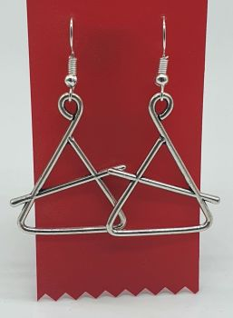 Triangle and Beater Tibetan Silver Ear Rings (03)