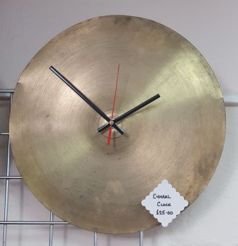 "Cymbal Clock - 14"" Hi Hat Cymbal Clock with Non-Tick Movement"