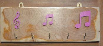 Key Rack - 5 Hook Pink Notation