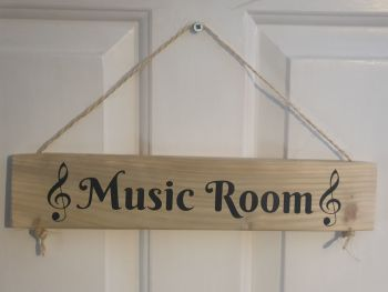 Music Room Hanging Sign - Recycled Wood with Vinyl Lettering
