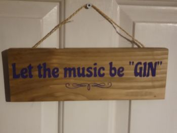 Let The Music BeGIN Hanging Sign - Recycled Wood with Vinyl Lettering