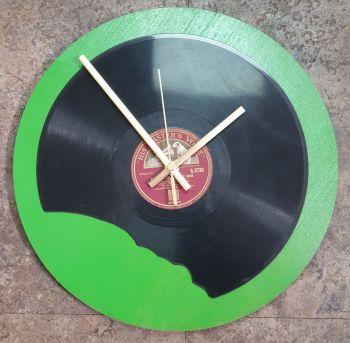 Broken Record Clock - 78rpm Record with Green Backboard & Clock Movement