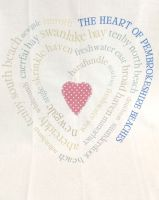 Pembrokeshire Beach Heart Tea Towel