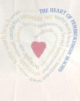 Pembrokeshire Beach Heart Tea Towel
