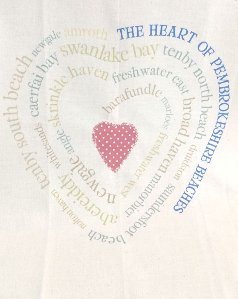 Pembrokeshire Beaches Heart Tea Towel