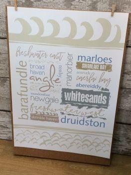 A2 Pembrokeshire beach names poster