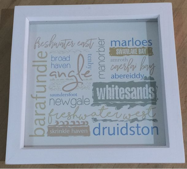 Pembrokeshire Beach Names box frame