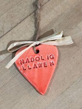 'Nadolig Llawen' Ceramic Heart