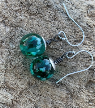 Teal and green bauble earrings
