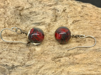 Red and black bauble earrings