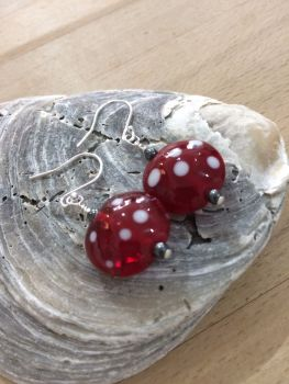 Red with White Spot Earrings