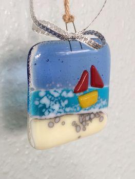 Sea Boat Fused Glass Hanger