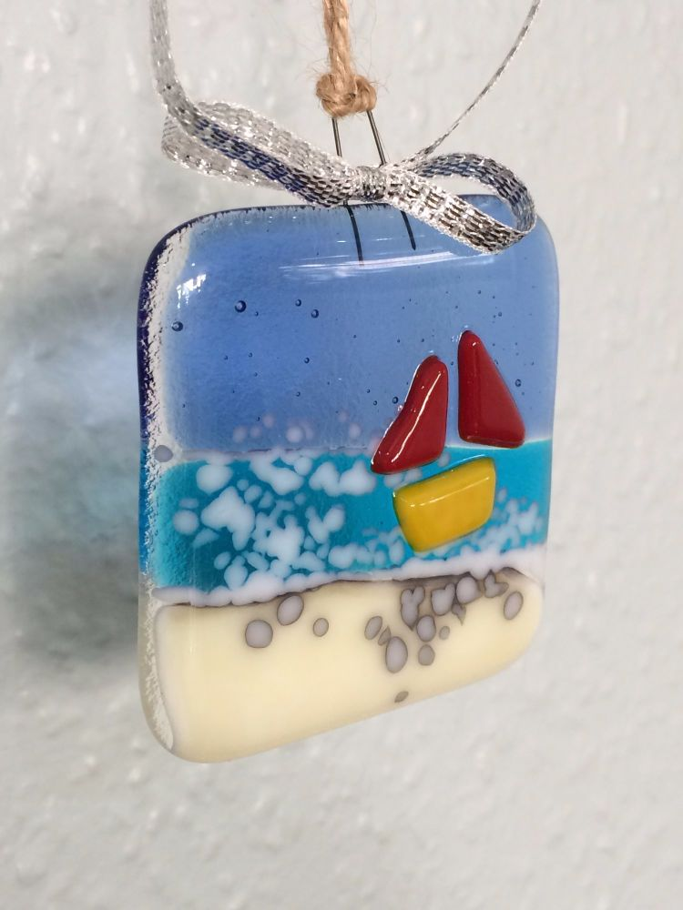Sea Boat Fused Glass Hanger