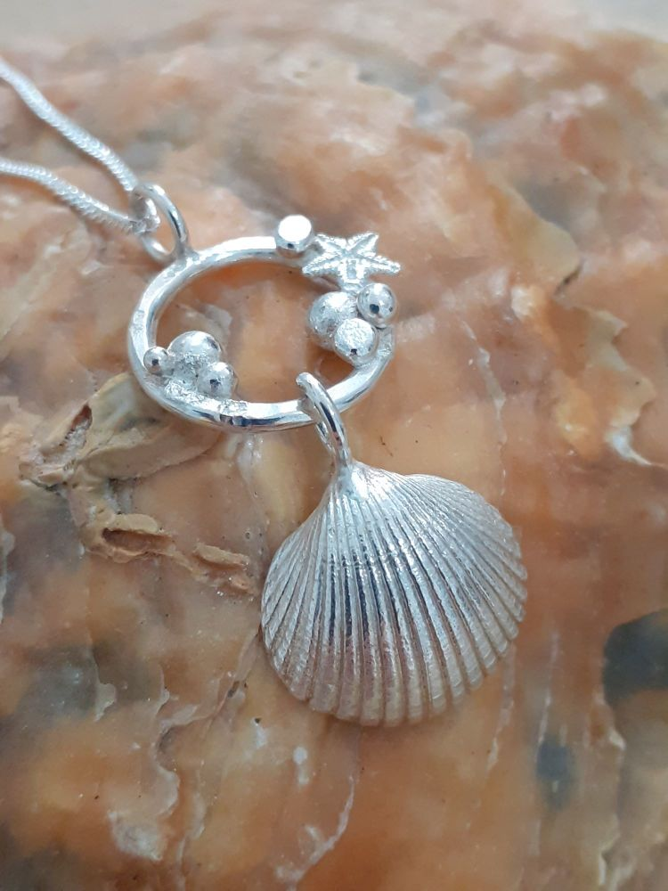 Cockle Shell & Starfish Silver Necklace