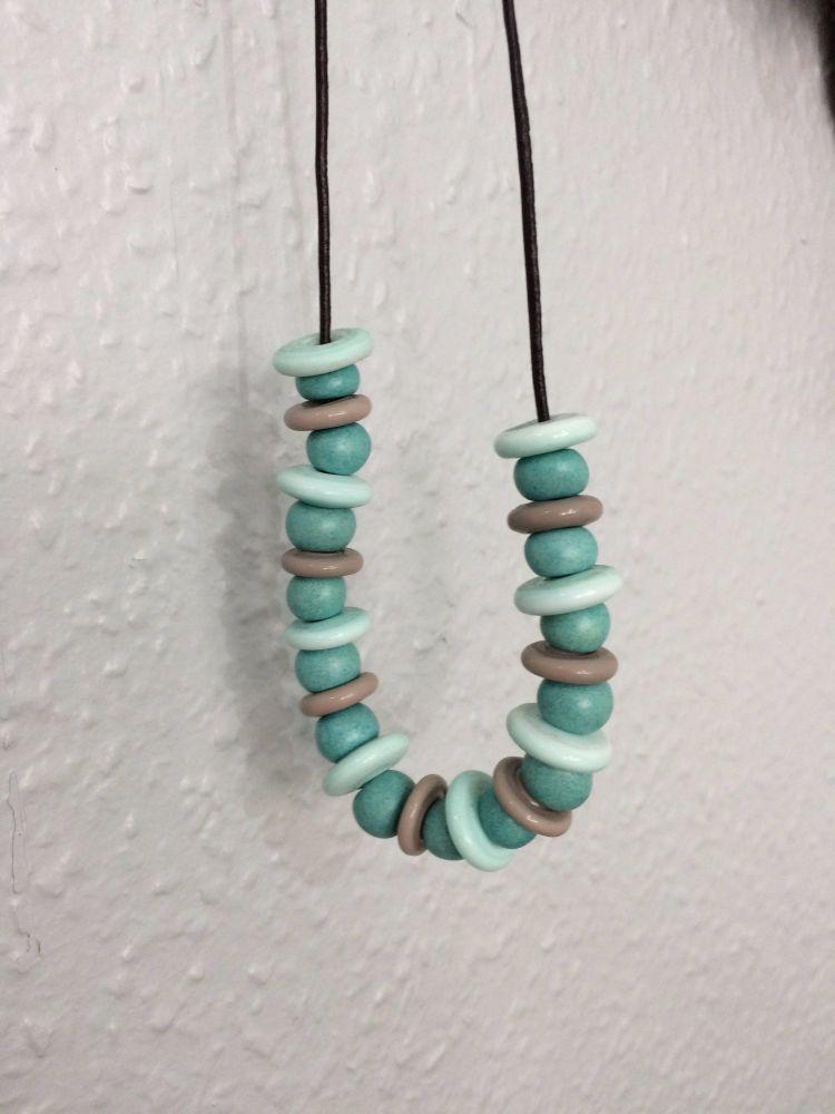 Handmade lampwork Disc Beaded Necklace