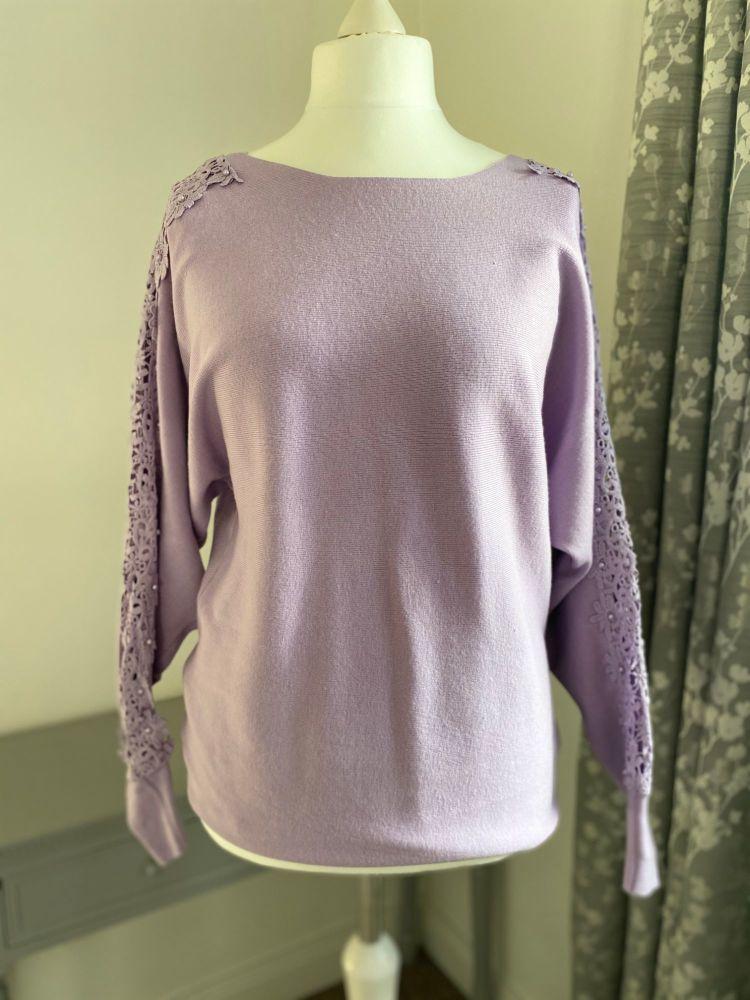 Crochet & Pearl Sleeve Jumper