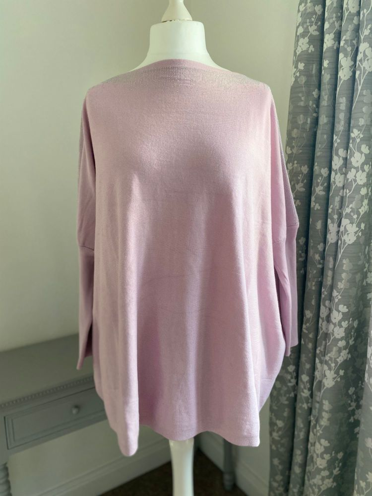 Pink Diamante Shoulder & Sleeve Jumper