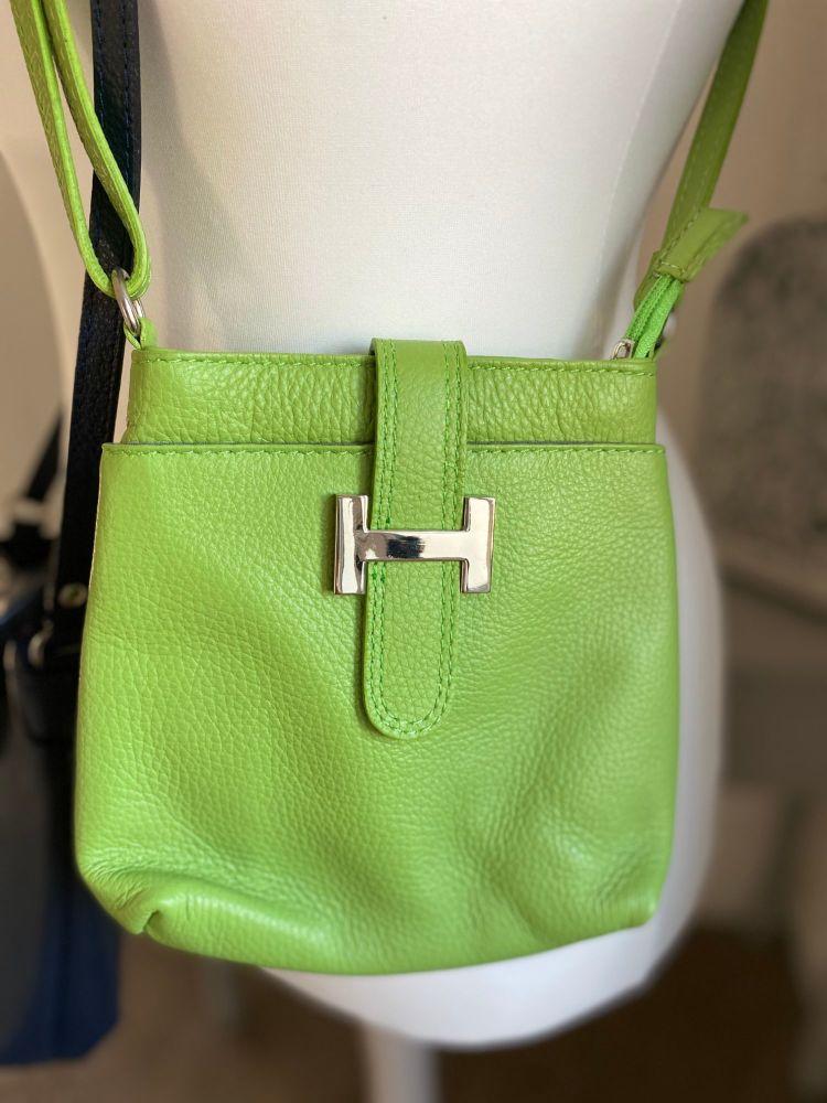 "Genuine Italian Leather Crossbody ""H"" Bag"